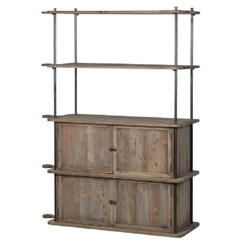 Charleston Reclaimed 4 Door Cupboard Shelving Unit